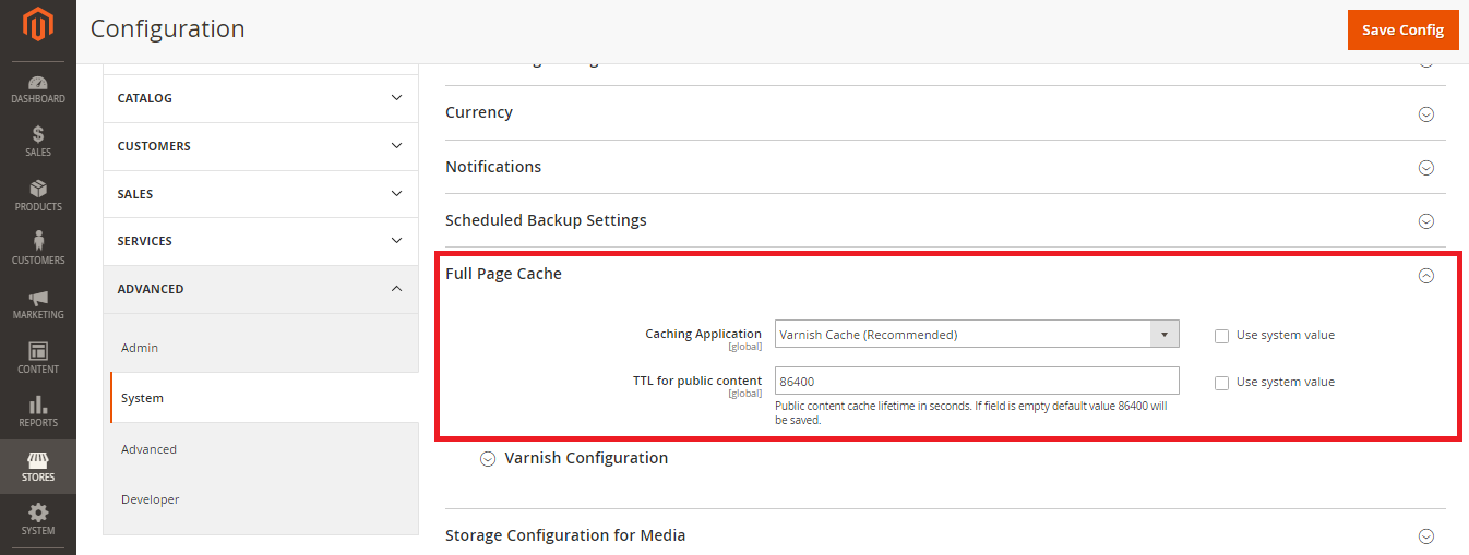 Enable varnish cache in the backend to speed up Magento 2 website