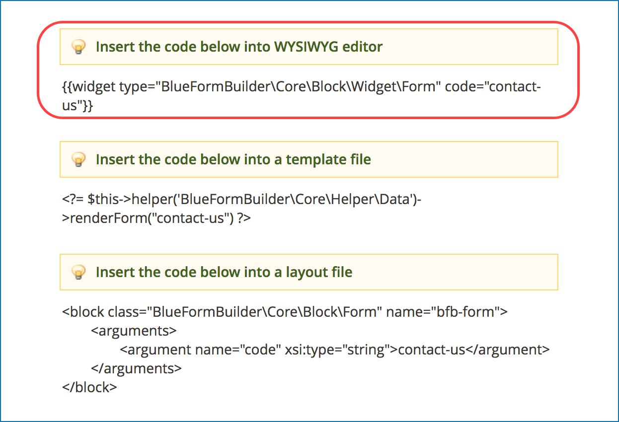 Embed forms with embed code
