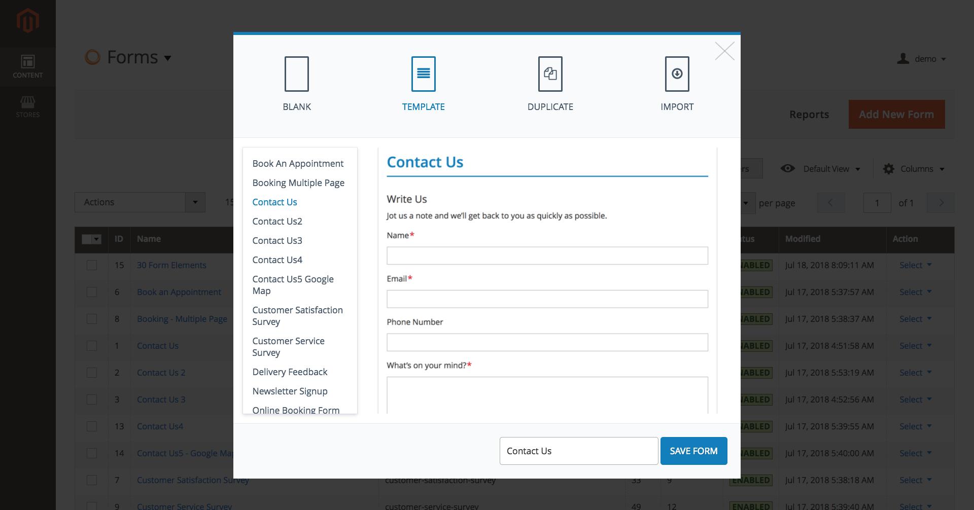 Create Magento 2 contact form