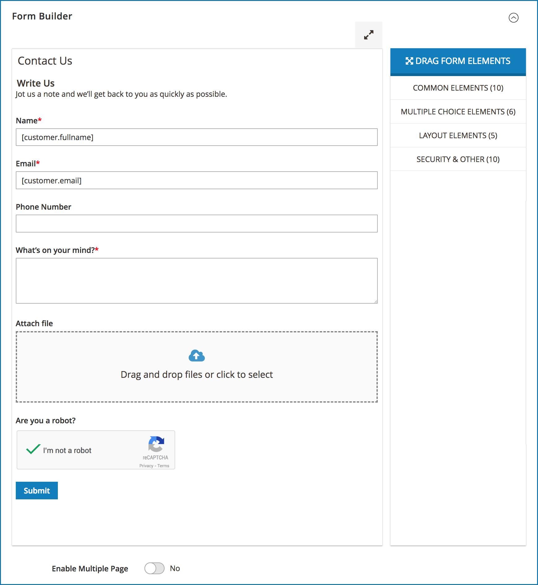 Magento 2 contact form_form builder