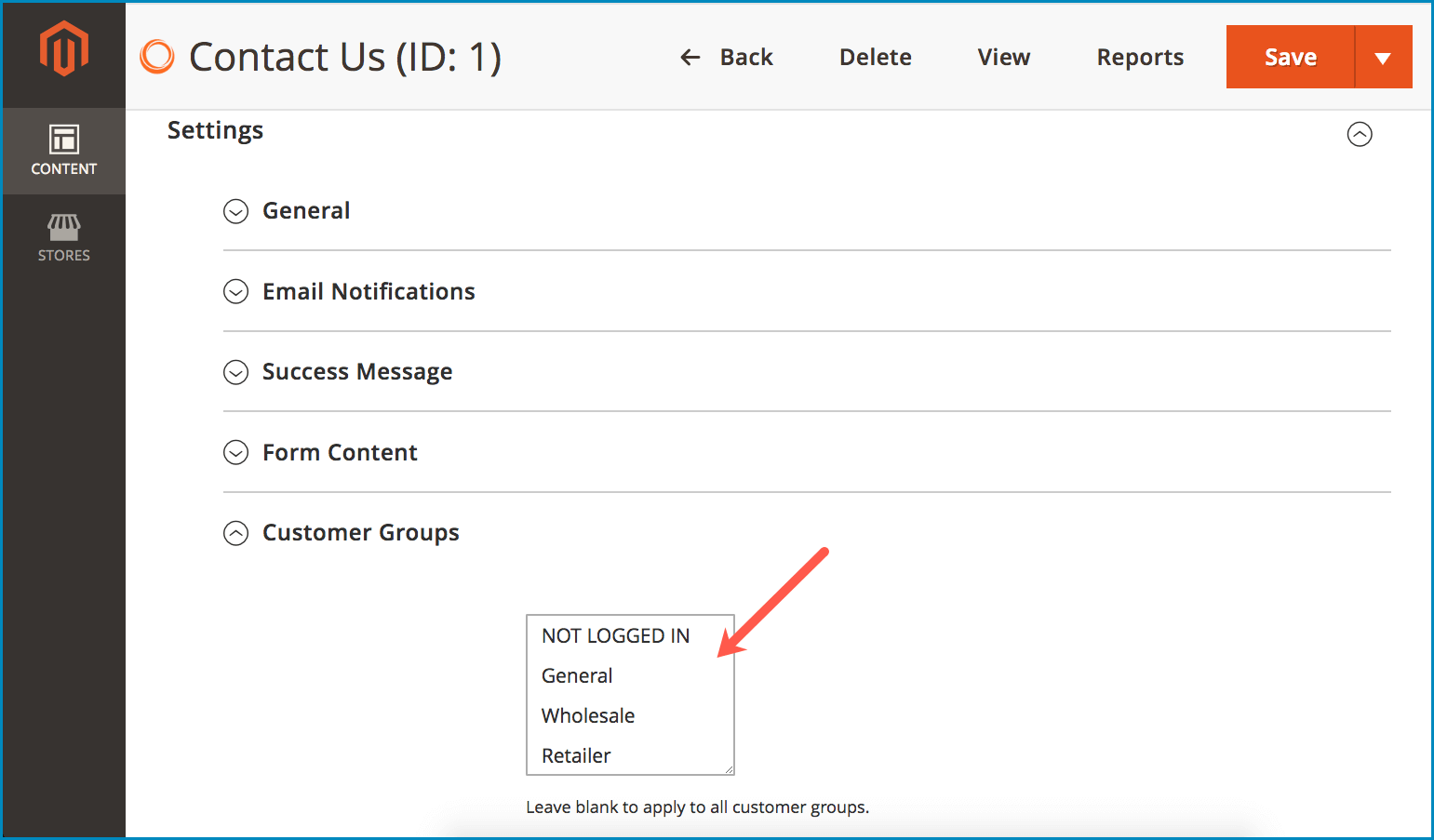 Display a form to certain Magento 2 customer groups-Choose groups to see the form