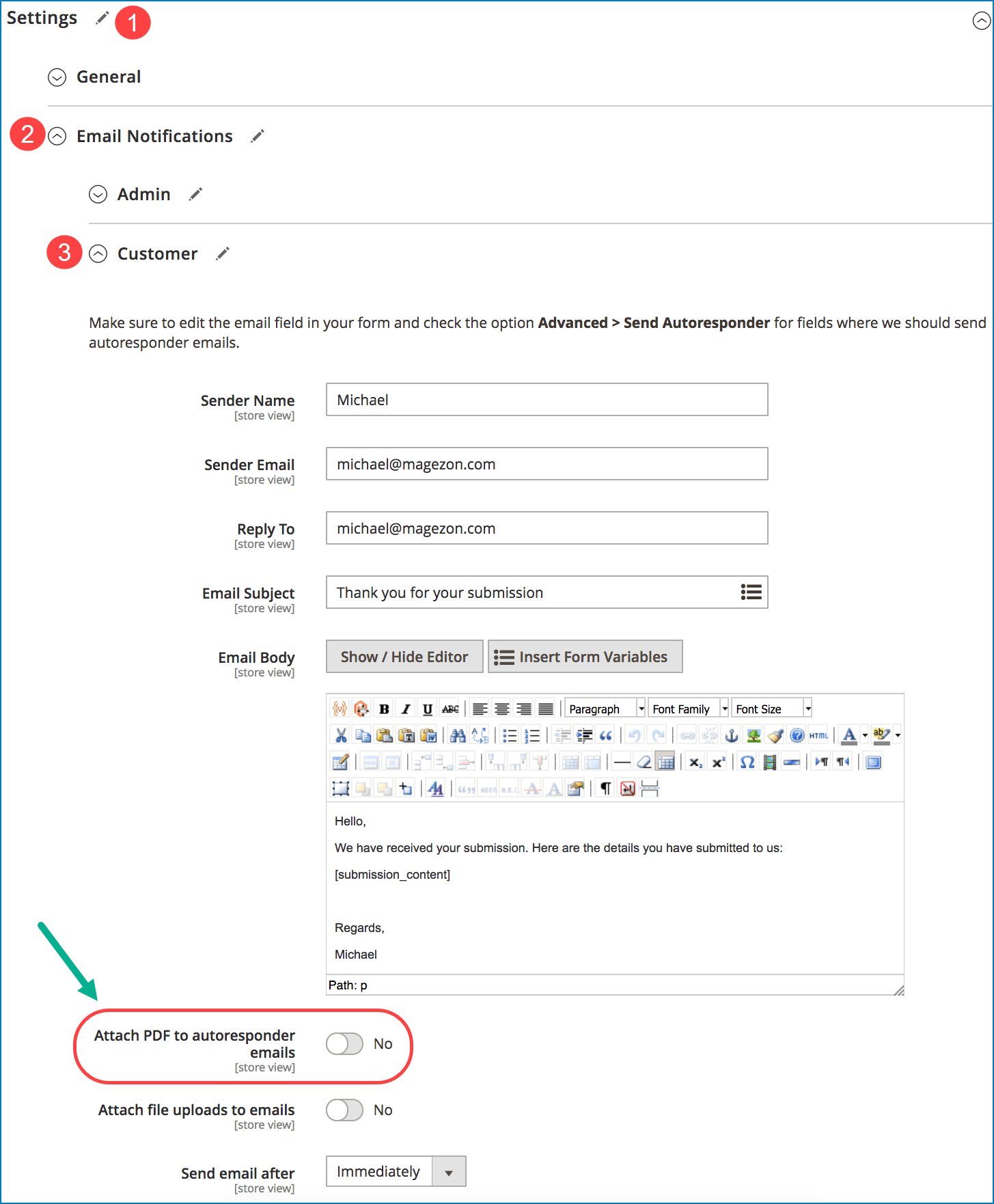 Include PDF attachment in form email notifications _ Customer