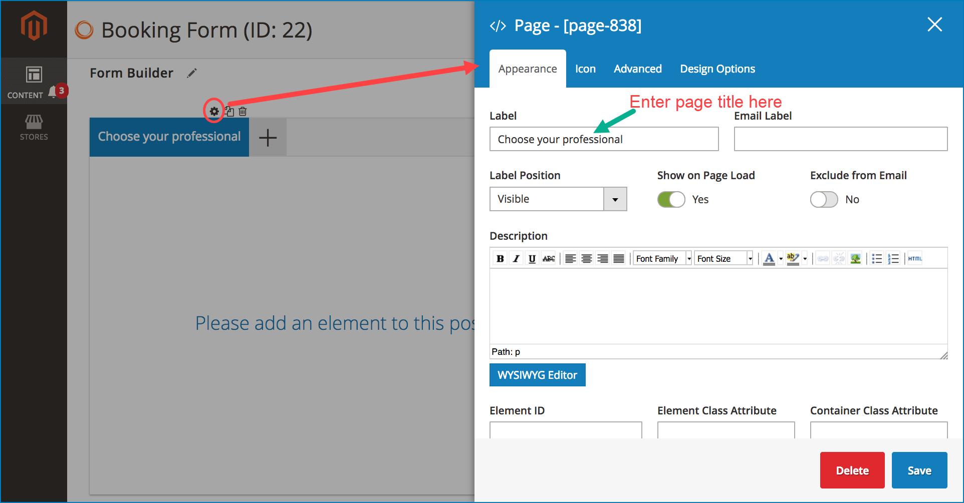Multi page form _ Configure each page