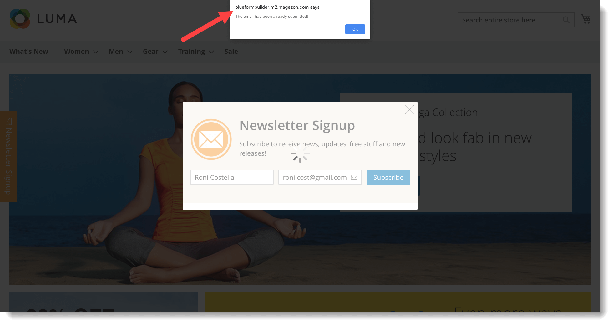Newsletter signup form _ Avoid duplicate emails _ Frontend