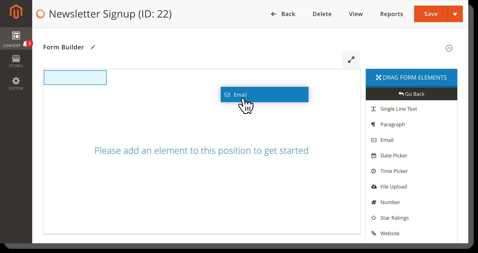 Newsletter signup form _ Drag n drop element
