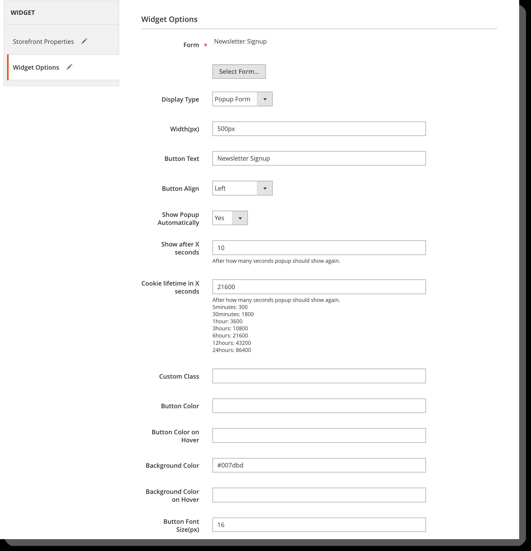 Newsletter signup form _ Widget options for popup