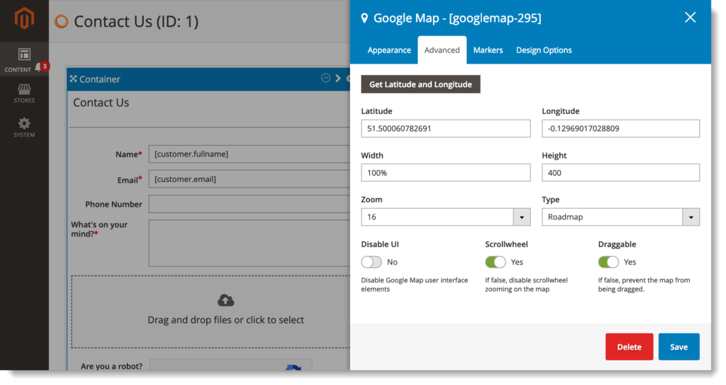 Magento 2 form builder _ Google Maps advanced tab