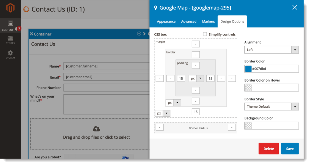Magento 2 form builder _ Google Maps design options tab