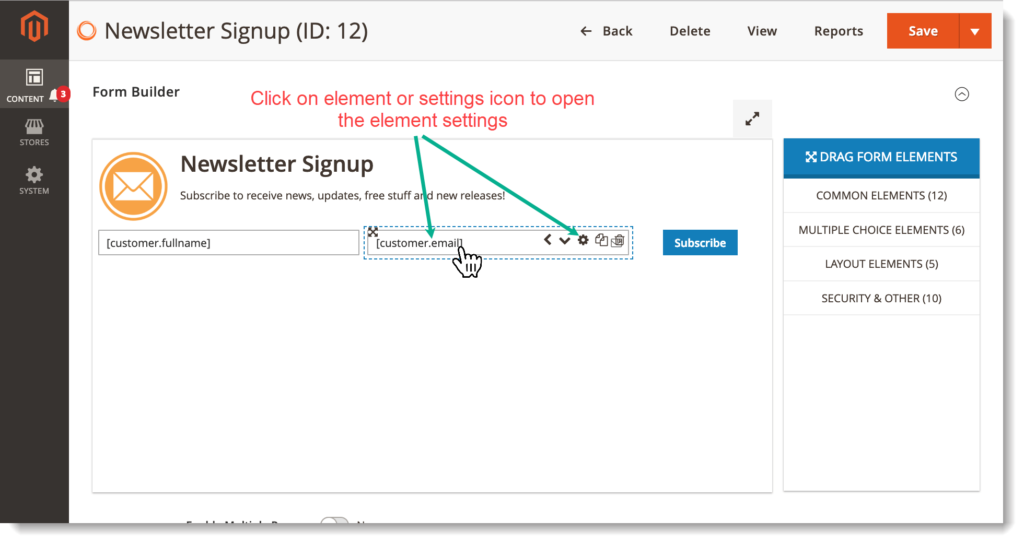 Magento 2 Form Builder _ Open element settings