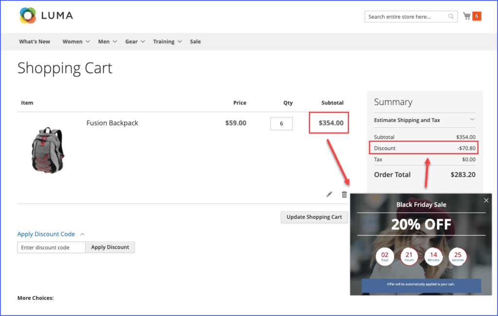 The popup appears on the shopping cart