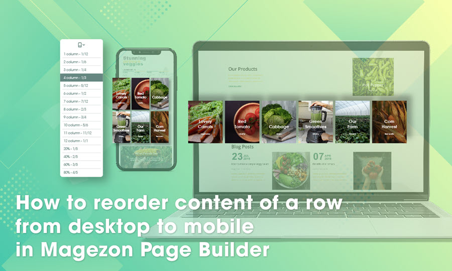 How to reorder content of a row from desktop to mobile in Magezon Page Builder